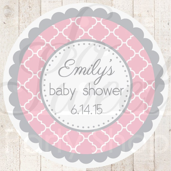 baby shower favor sticker labels pink and gray baby shower