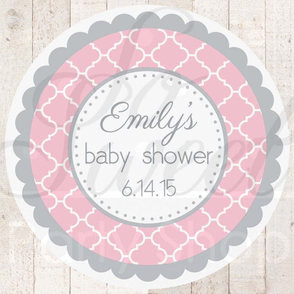Baby Shower Stickers For Favors: Baby Shower Favor Sticker Labels Pink And Gray Baby Shower