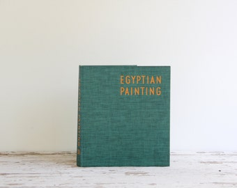 vintage Egyptian Paintings book / teal and yellow hardcover