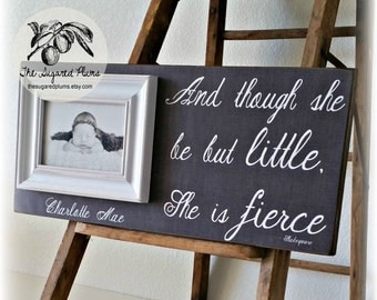 Baby Gift, Personalized Baby Frame, And Though She Be Little She is Fierce, Baby Girl, Baptism Gift, Goddaughter, Gray Grey and White, 8x20