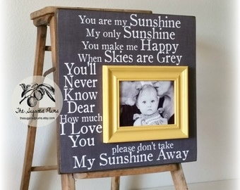 Baby Gift, Baby Boy, Baby Girl, You Are My Sunshine, First Birthday, Baby Frame, First Grandchild, 16x16 The Sugared Plums Frames