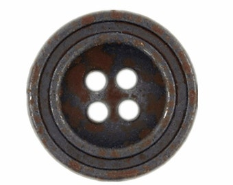 Metal Buttons - Gunmetal Rust Concave Metal Hole Buttons - 0.67 inch - 10 pcs
