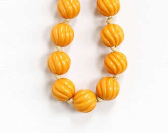 Vintage Butterscotch Orange Bakelite Beaded Necklace - Art Deco Early 1930s Round Statement Chunky Plastic Signed Leo Glass Jewelry