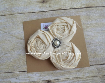 READY TO SHIP Cream Triple Cluster Embellished Rolled Flower Cluster Hair Clip by LauraLeeDesigns108