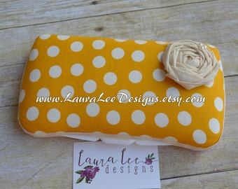 Mustard Yellow and Cream Large Polka Dot Travel Baby Wipe Case, Personalized Wipecase, Diaper Wipe Clutch, Wipe Holder, Monogram Wipes Case