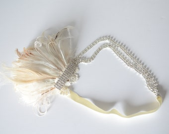 READY TO SHIP 1920s Gatsby Peacock Feather headband with lace,Bridal rhinestone headband,ivory champagne feathers,art deco Gatsby headband