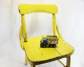 Child's Chair, Wood, Yellow Chippy Paint