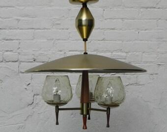 Modern 1970s 3 Light Glass Metal U0026 Wood Retractable Hanging Chandelier
