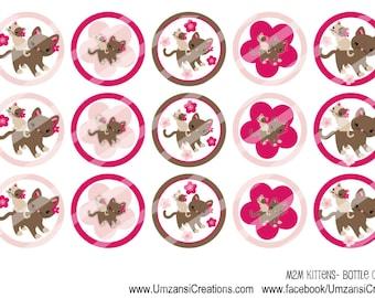 INSTANT DOWNLOAD-M2M Kittens-Circles-Bottlecaps