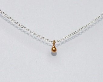 minimalist gold necklace. tiny 24k gold vermeil ball. sterling, rose or yellow gold vermeil • • jenna droplet necklace
