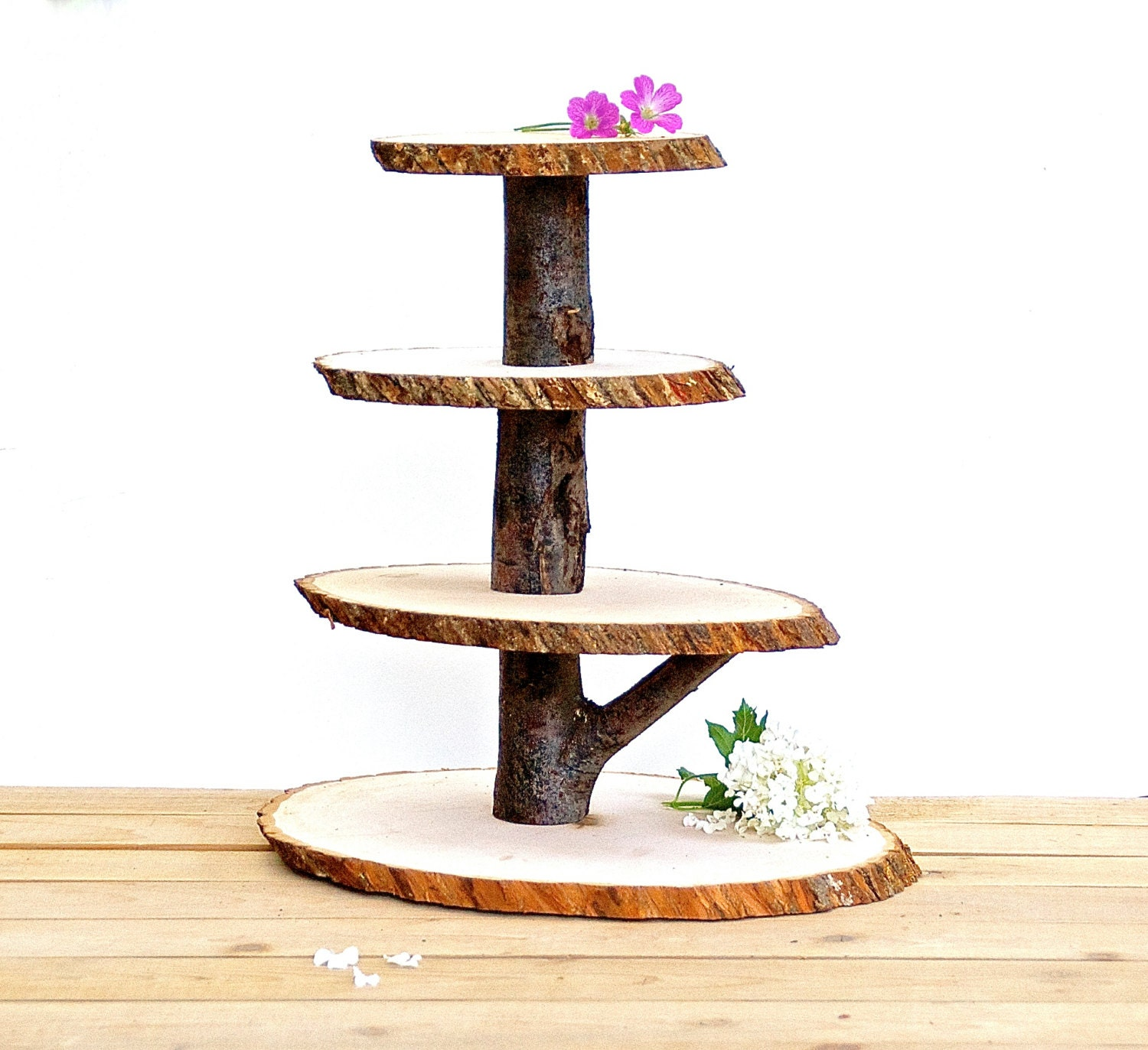Rustic Wedding Wood Cake Stand: Wooden Cupcake Stand Rustic Wood Tree Slice Centerpieces