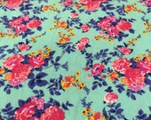Pink Coral Floral on Minty Green Cotton Jersey Blend Knit Fabric