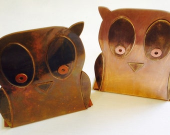 Solid Copper Owl Bookends
