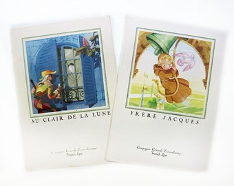 1950s French Line Menus, Clair de Lune & Frere Jacques