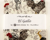"""ON SALE El Gallo Black Red Roosters Moda Quilt Fabric Moda Charm Pack 42 squares 5"""""""