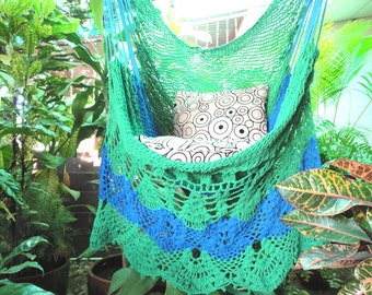 Green and Royal Blue Sitting Hammock, Hanging Chair Natural Cotton and Wood plus Simple Fringe