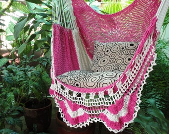 Fuchsia and Beige Hammock with Simple Fringe, Hanging Chair Natural Cotton and Wood