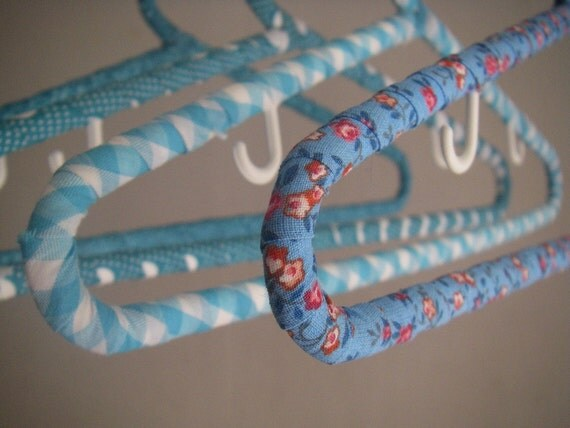 Vintage cotton,kimono fabric covered children hangers, set of 4(blue)