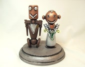Cute Robot Wedding Cake Topper Classic Bride and Groom Gear Bouquet Round Base Wood Statue