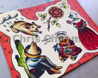 Pigs n Roses n Birds Tattoo Flash