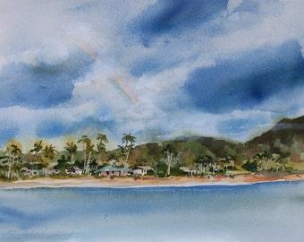 Hanalei Rainbow, Kauai, Watercolor Print, Seascape, Hawaiian Islands, Ocean, Clouds