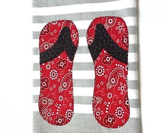 Gray white stripe dish towel red bandana print flip flops