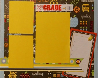 Premade 2nd Grade Scrapbook Page, School Scrapbook Page, Elementary School Scrapbook Page, Premade Scrapbook Page, School Album, 12 x 12