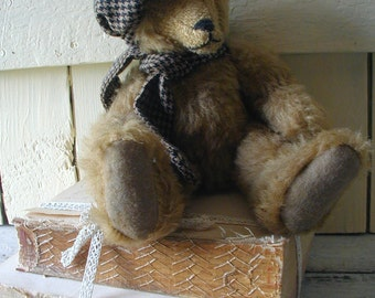 Vintage Handmade Brown Mohair Teddy Bear Original Signed by Artist Collectable Decorative Cottage Decor Moveable arms Legs Cap Scarf