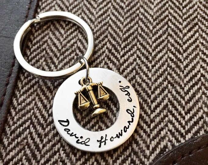 Lawyer, personalized scales of justice, hand stamped washer keychain