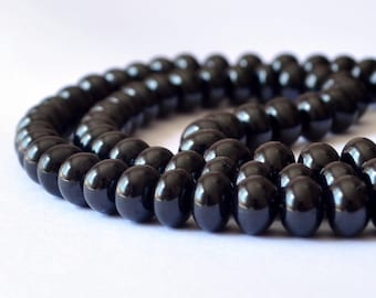 Smooth Black Spinel Rondelles, Plain Gemstone Beads, Large, Genuine Gem Stone, 6mm - 6.5mm, Set of 10