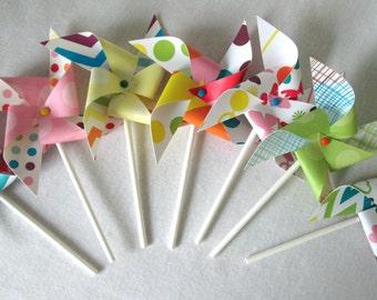 Cupcake Toppers Paper Pinwheels Rainbow Favors Rainbow Decorations Pinwheel Birthday Favors Cake Topper Birthday Decoration Baby Shower