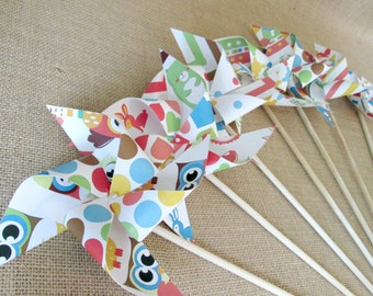 Paper Pinwheels Party Favors Owls Woodland Creatures Pinwheel Favors Birthday Favors Party Favors Set of 25 Baby Shower Favors Centerpiece