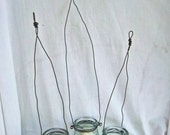Handmade Repurpose Glass Candle Holders Hanging Jars Rustic Wire Candle Lights