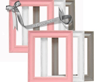 Shabby Chic Picture Frames Baby Girl Nursery Picture Frame Set Pink and Gray Grey 8x10 Picture Frames Wall Decor Shabby Chic Decor