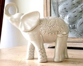 elephant, elephant decor, elephant figurine, bohemian decor, elephant art, white, Indian elephant, tabletop, home accent, decor, home deco