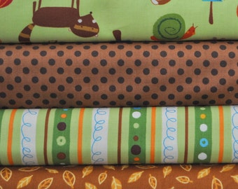 Animal Party Too Earth 4 Fabric Fat Quarters by Amy Schimler for Robert Kaufman, 1 yard total