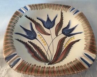 Scandinavian Pottery/ Norway Ashtray/ Hand Painted Pottery/ Mid Century Scandinavian/by Gatormom13