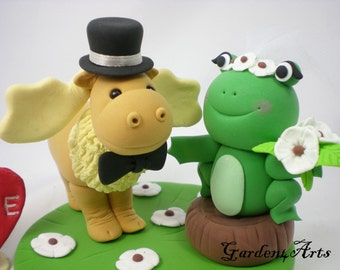 Custom wedding Cake Topper-- Love moose and frog with clay grass base--New