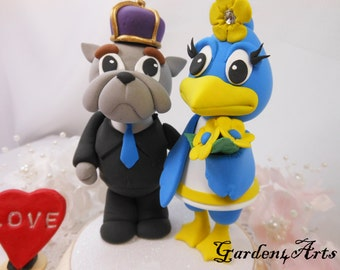 Custom Wedding Cake Topper--Love Mascot Couple with Circle Clear Base