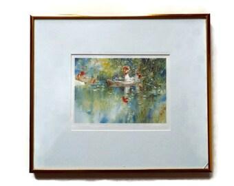 Vintage Signed Art Print by Brent Heighton - Framed Vintage Water Landscape - Framed Print Lady in a Boat