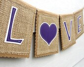 Kraft and Burlap LOVE Banner, Custom Colors Available