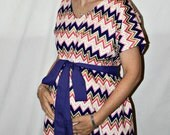 Elle LINED Maternity Hospital Gown -Purple Hot Pink Pink Gold Chevron- Lined in the Color of Your Choice- by Mommy Moxie