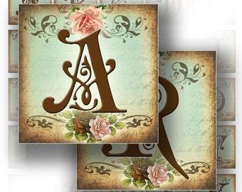 Digital collage sheet Victorian alphabet letters monogram 1,5x1,5 squares. Printable ephemera vintage paper supply (165) BUY 3 GET 1 FREE