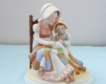 "REDUCED - RARE Holly Hobbie Designer's Collection ""Mothers Stitch A Bond of Love"", 1978 Mother's Figurine, Quilt Lover, Mother and Child"