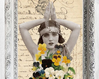 Vintage Girl Pansy poster art print shabby chic home decor romantic wall decor gift for her bohemian flapper Digital Instant Download