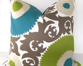Designer Pillow Cover - Fahri - Indoor / Outdoor - Teal - Lime - Sand and Ivory