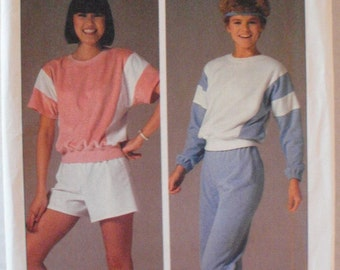 Women's Workout Wear, Pullover Top, Pull-on Pants and Shorts - Simplicity 6906 - Size M (14 - 16), Bust 36 - 38, Uncut