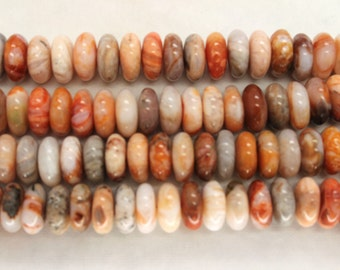 Center Drilled Natural Bamboo Leaf Agate Rondelle/Coin Beads - 16 Inch Strand