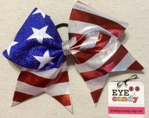 Fourth of July American Flag Patriotic 3 Inch Cheer Bow Softball Dance Gymnastics