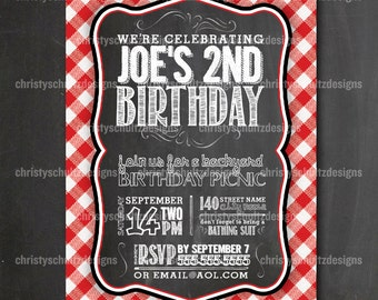 Custom Backyard BBQ Picnic Birthday Party Invitation